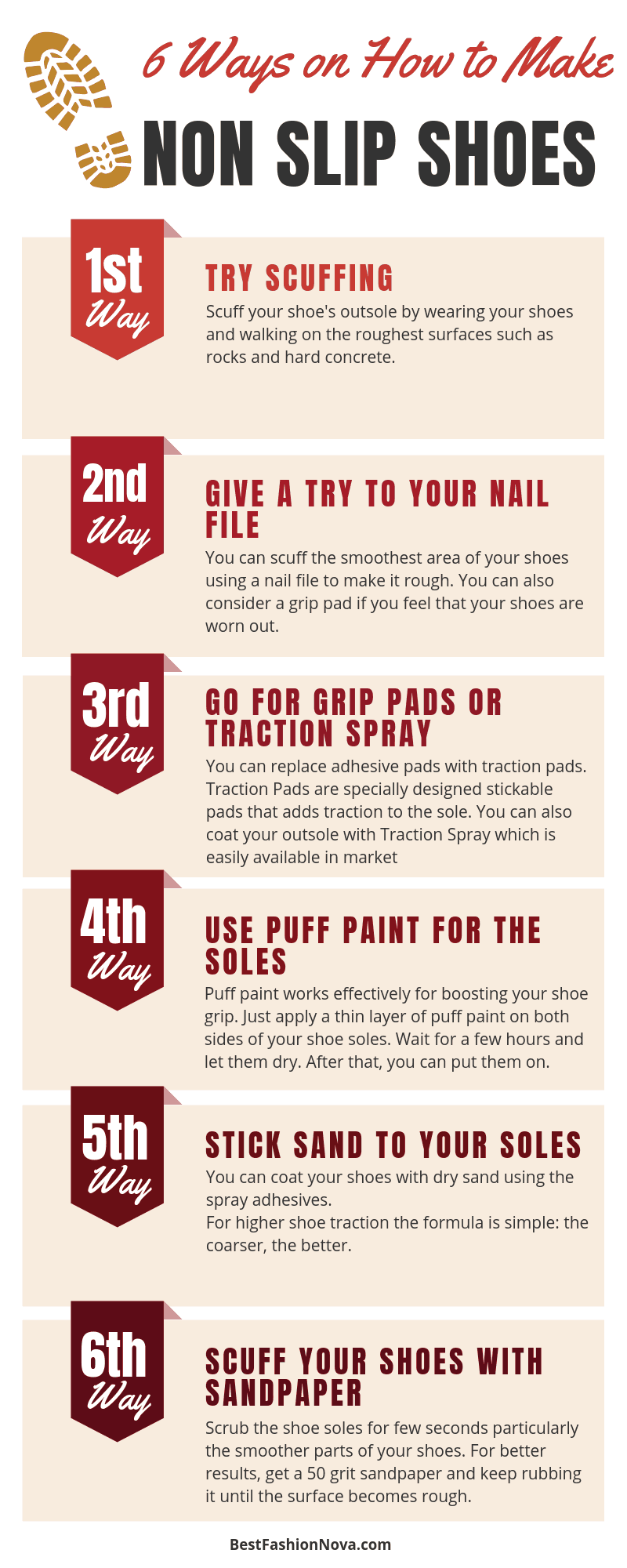 How to make non slip shoes - infographic